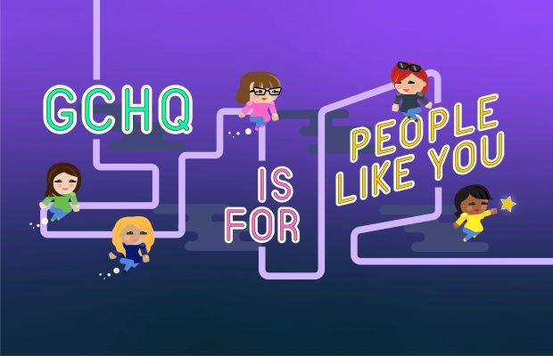 Graphic showing the words 'GCHQ is for people like you' along a timeline dotted with characters designed to represent case studies for the Journey into the Known GCHQ recruitment campaign