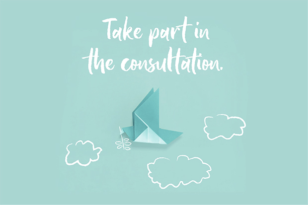 Image featuring the words 'Take part in the consultation' in white against a pale green background, above a graphic of an origami bird surrounded by clouds