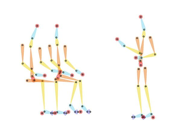 A still image from the animation framework showing the 'bare bones' of the character rigging used to animate the action of movement in areas such as arms, legs and walking so our characters could go about their smarter working day. The rigging is comprised of different coloured sticks connected by dots that represent limbs and joints the limbs and joints of three humanoid shapes, two sitting and one standing. The sticks and dots can be manipulated to portray movement when illustrative graphics are overlaid