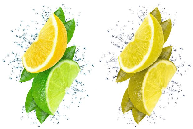 A split screen featuring the same image displayed twice side by side but in two colour variants. The left side shows a portrait view of a wedge of a yellow lemon fruit open to the left stacked above a wedge of a green lime fruit open to the right, both are displayed with splashes of light blue water radiating from dark green leaves set behind the fruit, all against a white background. The same image on the right is colour corrected to display how a person with Protanopia type colour blindness may view it to give a clear comparison of how indistinguishable particular colours can be and therefore how the 'green' lime fruit appears to be the same yellow as the lemon fruit and is therefore indistinguishable from the lemon fruit.