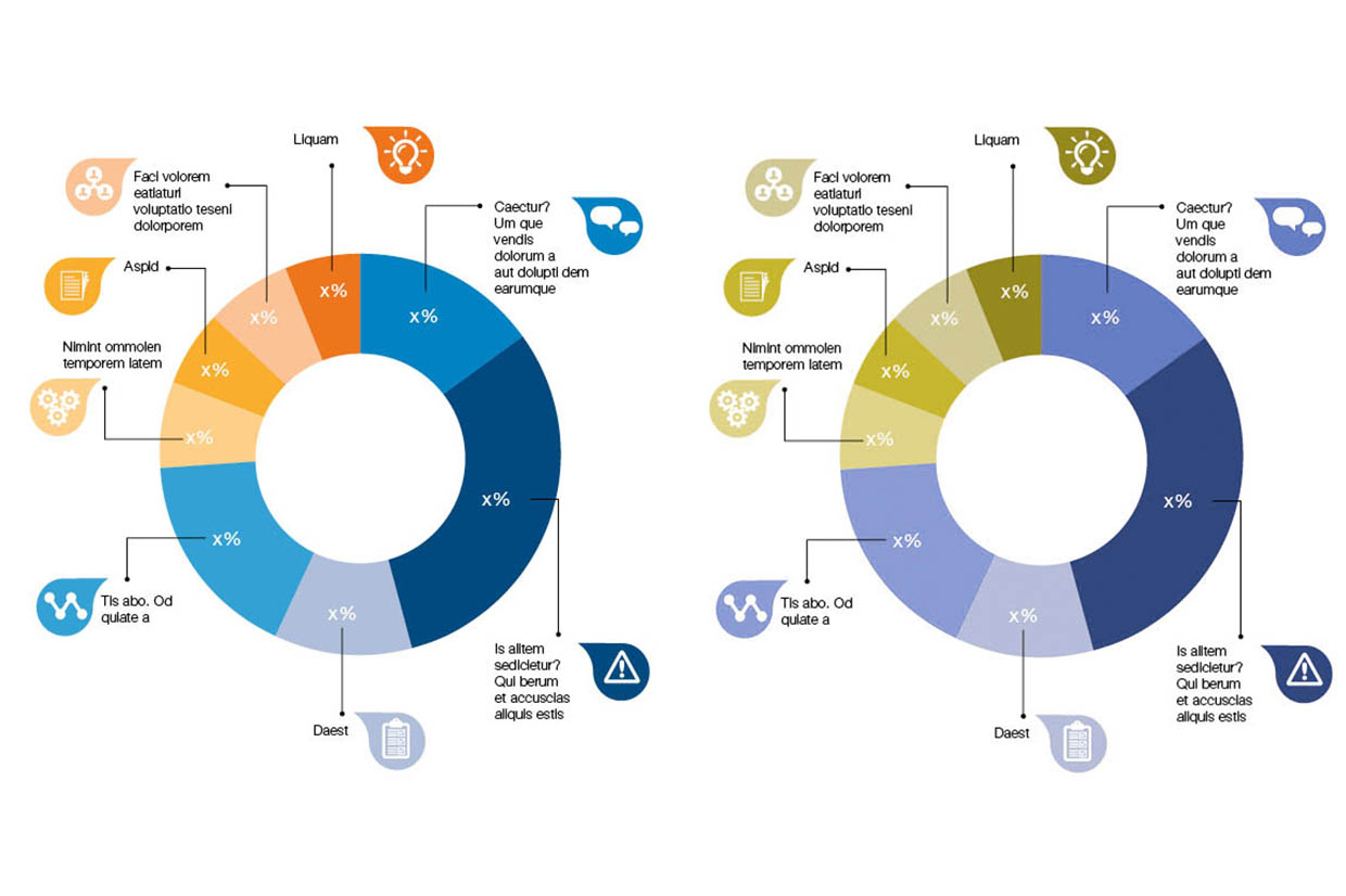 A split screen example of a pie chart style created by Design102 with percentages in figures displayed over segments in 4 different shades of orange and 4 different shades of blue. A range of illustrated icons including a lightbulb, speech bubble, warning triangle with exclamation mark, clipboard, three cogs, a notepad and three avatar style heads displayed against three white connected pods, are set against background bubbles in colours matching the relevant segments of the pie chart. The icons are linked by black key lines to the corresponding coloured segment of the pie chart. There are clear colour definitions between segments. The same image on the right is colour corrected to display how a person with Protanopia type colour blindness may view it to give a clear comparison of how the colours are distinguishable and that the data is clearly recognisable and differentiated despite the loss in colour saturation. The text displayed is lorem ipsum.