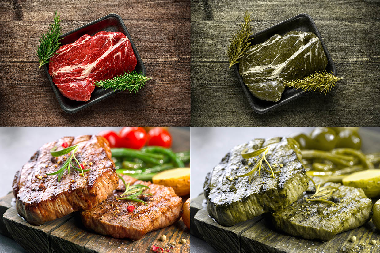 Divided into four equal segments. The top left segment shows a red coloured raw steak edged by green garnish, in a black dish on a wooden worktop. The segment below shows two stacked slices of brown cooked steak, topped with green garnish and served on a wooden platter. These two images are repeated on the right but have been colour corrected to display how a person with Protanopia type colour blindness may view them on the right. The images are very similar in colour resemblance and both appear green. This offers a clear comparison of how indistinguishable particular colours can become and subsequently, how difficult it could be for a person with Protanopia type colour blindness to tell if a steak is cooked or raw simply by looking at it.