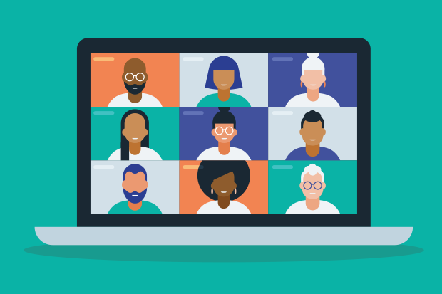 Illustration of a laptop showing a nine square video call mock up with nine generic silhouettes of people from a range of races and age groups