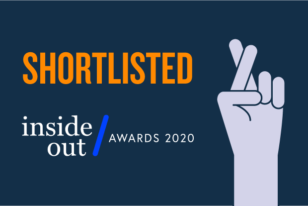 Text reads 'Shortlisted. Inside Out Awards 2020' alongside a simple cartoon illustration of a hand with fingers crossed. The image uses Design102 brand colours – navy blue, a lighter blue tint and orange
