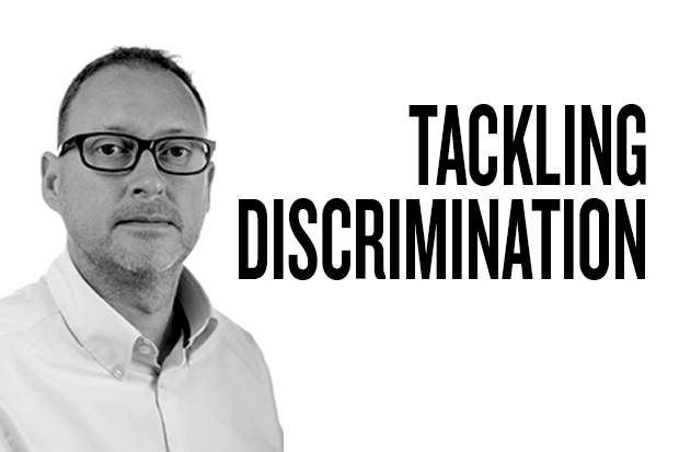 Black and white photo of Peter Rainey, Design102 MD, against a white background with the title Tackling Discrimination