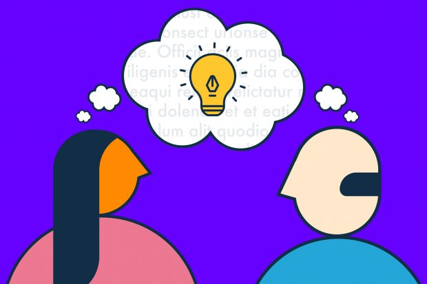 Illustration of two people looking towards each other in conversation, with a shared thought bubble above their heads featuring an illuminated light bulb