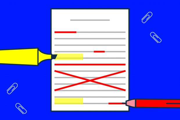 Illustration of a piece of paper with unintelligible writing. Some sections have been crossed out in red, others have been highlighted in yellow