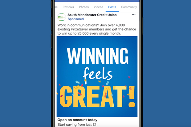 A PrizeSaver Facebook post which reads 'Winning feels great' with a confetti decoration