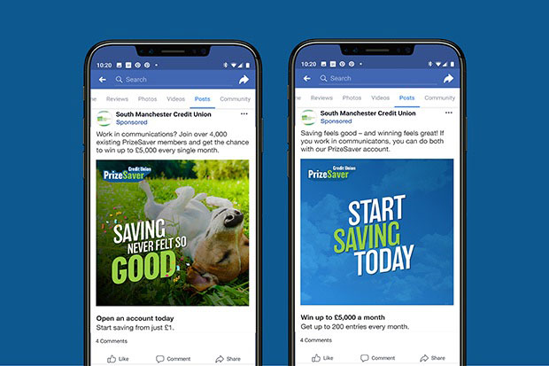 Two smartphones showing different PrizeSaver Facebook posts. In the first post, a Jack Russell lays on its back beneath the words 'Saving never felt so good'. The second post features the words 'Start saving today' on a plain blue background