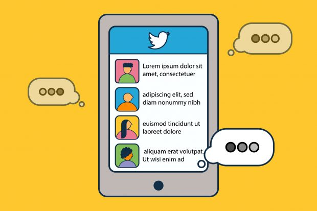 Illustrated image of a Twitter feed on an iPhone screen, with typing speech bubbles bursting from it. The text is Latin placeholder text.