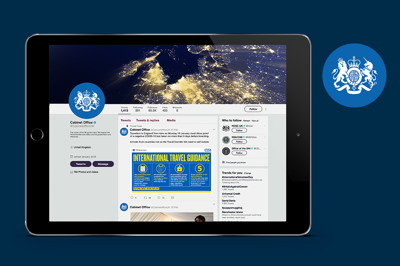 An example of the social media avatar in use on the Cabinet Office Facebook page, which is shown on a tablet.