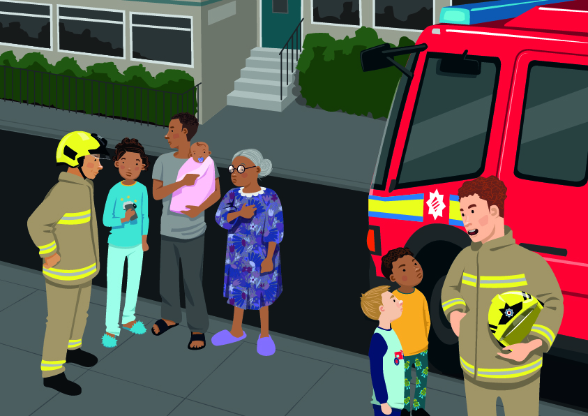 An illustration of a fire engine parked on a street, with two firefighters in the foreground talking to members of the public. One firefighter is talking to a family – a child in pyjamas and slippers, an adult man holding a baby and an elderly woman, who is also in slippers. The other firefighter is talking to two boys. Everyone's facial expressions look serious or worried.