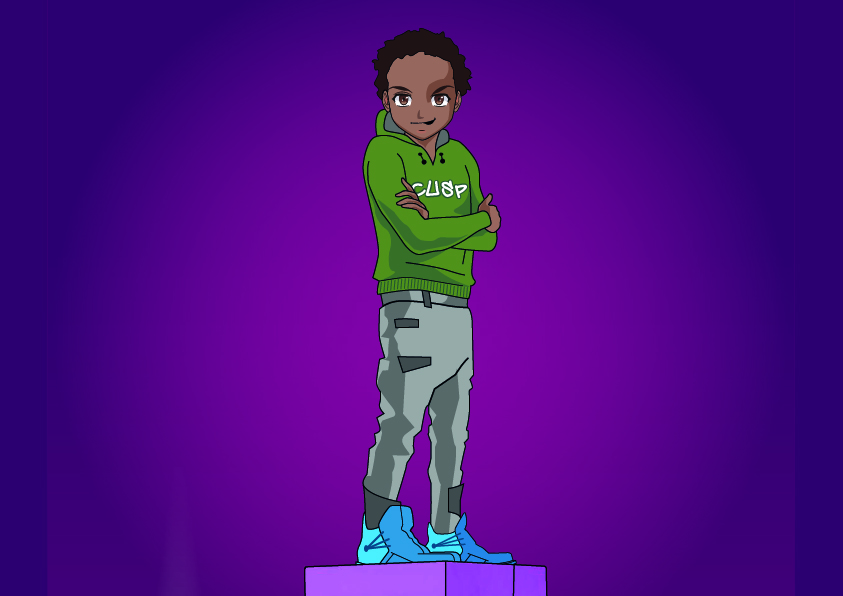 An illustration of a teenage boy staring confidently at the viewer, with his arms folded. He has dark brown skin and dark curly hair and wears a green hoodie with the text 'CUSP' across the chest. He's standing on a platform against a vibrant purple background.