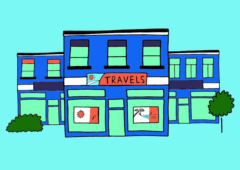 A line-drawing illustration of a travel agents. The building is dark blue, with a bright orange sign over the door that reads 'Travels'. The background is light blue.
