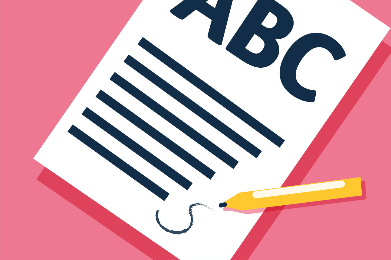 Illustration of the letters ABC on a blank piece of paper, on a pink background.