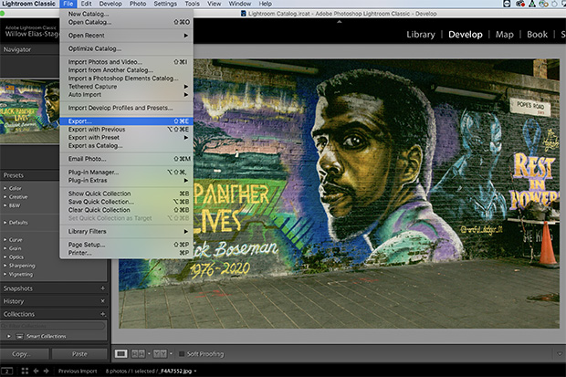 The photograph of the Chadwick Boseman mural appears in the program Adobe Lightroom. A drop-down box has the word 'Export' highlighted.