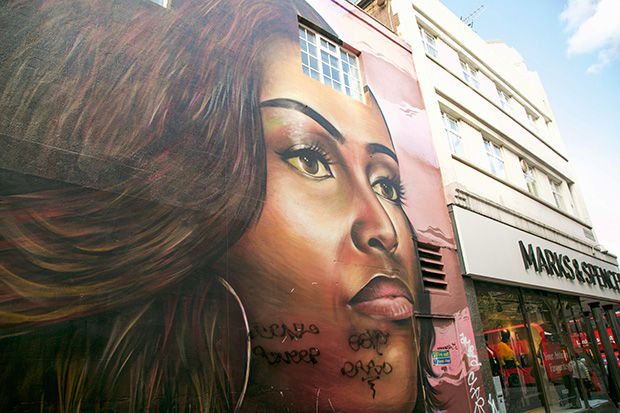 Mural painted on the side of a building. The mural depicts Michelle Obama's face up close. She looks into the distance with a firm expression.